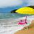 sarı · güneş · şemsiyesi · görüntü · güzel · mavi · gökyüzü - stok fotoğraf © ivonnewierink