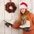女性 · クリスマス · 花輪 · クローズアップ · 小さな · 白人 - ストックフォト © ivonnewierink