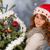 tél · nő · kalap · karácsonyfa · portré · hó - stock fotó © ivonnewierink