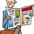 man with newspaper cartoon illustration stock photo © izakowski