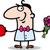 man with heart and flowers cartoon stock photo © izakowski
