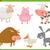 家畜 · セット · 漫画 · 実例 · かわいい - ストックフォト © izakowski
