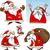cartoon christmas santa clauses set stock photo © izakowski