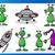 aliens or martians cartoon characters set stock photo © izakowski