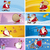 cartoon greeting cards with santa clauses stock photo © izakowski
