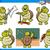 ingesteld · schildpad · karakter · illustratie · gelukkig · achtergrond - stockfoto © izakowski