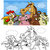 farm animals cartoon for coloring book stock photo © izakowski