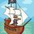 pirate on ship cartoon illustration stock photo © izakowski