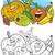 плодов · овощей · книжка-раскраска · страница · Cartoon · иллюстрация - Сток-фото © izakowski