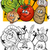 vegetables group cartoon for coloring book stock photo © izakowski