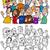 счастливые · люди · группа · книжка-раскраска · страница · Cartoon · иллюстрация - Сток-фото © izakowski