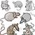 engraçado · ratos · conjunto · flor · comida · mar - foto stock © izakowski