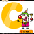 letter c with clown cartoon illustration stock photo © izakowski