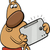 dog with tablet cartoon illustration stock photo © izakowski