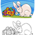 easter bunny cartoon illustration for coloring stock photo © izakowski