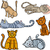 happy and sleepy cats cartoon set stock photo © izakowski