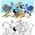 Vögel · Gruppe · Ausmalbuch · schwarz · weiß · Karikatur · Illustration - stock foto © izakowski