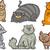 boldog · álmos · macskák · rajz · szett · illusztráció - stock fotó © izakowski