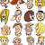 rajzolt · emberek · betűk · arcok · rajz · illusztráció · emberek - stock fotó © izakowski