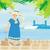 férias · trópicos · ilustração · mulher · árvore · sol - foto stock © jackybrown