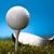 golfbal · groen · gras · Blauw · zonsondergang · gazon · lifestyle - stockfoto © JanPietruszka