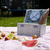 picnic basket with fruit bread and wine stock photo © janpietruszka