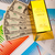 Gold bars and coins, ambient financial concept stock photo © JanPietruszka