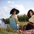 Pareja · cesta · de · picnic · campo · hombre · diversión · caminando - foto stock © janpietruszka