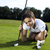 женщину · играет · гольф · области · ярко · красочный - Сток-фото © JanPietruszka