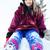 belle · asian · fille · séance · neige · montagnes - photo stock © jarenwicklund