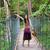 teen girl on wooden hanging bridge in woods stock photo © jarenwicklund