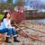 jonge · tienermeisje · vergadering · strand · meer · Blauw - stockfoto © jarenwicklund