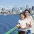 two sisters on ferry deck with seattle skyline in background stock photo © jarenwicklund