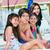 glimlachend · meisjes · vergadering · zwembad · zomer · groep - stockfoto © jarenwicklund