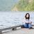 jóvenes · muchacha · adolescente · sesión · lago · muelle · relajante - foto stock © jarenwicklund