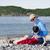 padre · sesión · playa · jugando · discapacidad · hijo - foto stock © jarenwicklund
