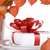 white present with red ribbons on a dinner plate stock photo © jarenwicklund