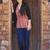 biracial teen girl standing in brick doorway of home stock photo © jarenwicklund