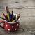 bağbozumu · boya · kalemleri · kırmızı · fincan · ahşap · zemin · ofis - stok fotoğraf © jarin13