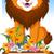 lion cartoon posing with blank sign stock photo © jawa123
