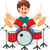 funny boy cartoon playing drum stock photo © jawa123