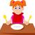 menina · alimentação · cantina · mesa · de · jantar · ilustração · criança - foto stock © jawa123