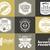 set of music production logo musical label icons stylish patch and emblem print or logotype guitars stock photo © jeksongraphics