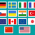 set of european union usa ukraine china japan canadam india flags stickers and labels with shad stock photo © jeksongraphics