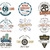 vintage car service badges garage repair labels and insignias collection retro colors design good stock photo © jeksongraphics