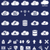 silhouette cloud storage data analysis network technology settings icons flat set isolated on dar stock photo © jeksongraphics
