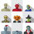 set of people with halloween costume in flat icons stock photo © jiaking1
