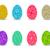 retro · páscoa · floral · ovos · conjunto · isolado - foto stock © jiaking1