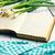 öreg · recept · könyv · tavasz · hagyma · étel - stock fotó © jirkaejc