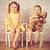 kettő · nővérek · ül · szék · retro · lány - stock fotó © jirkaejc